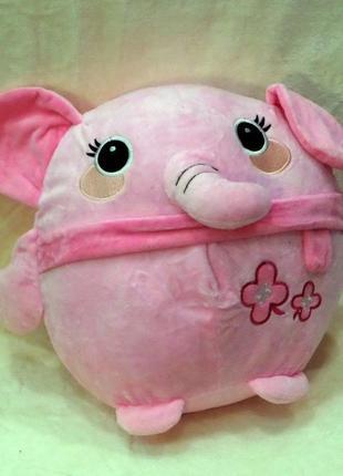 Плед-мягкая игрушка 3 в 1 розовый слоник розовый