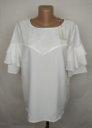 Блуза новая белая шикарная с рюшами кружево uk 14/42/l