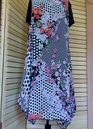 Нарядное платье шифон в горох цветочный принт с утяжкой батал ,большой размер