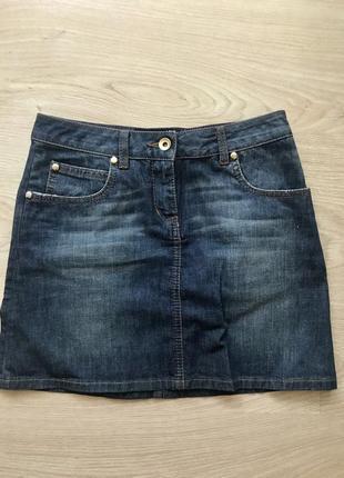 Джинсовая мини-юбка трапеция moschino (оригинал)