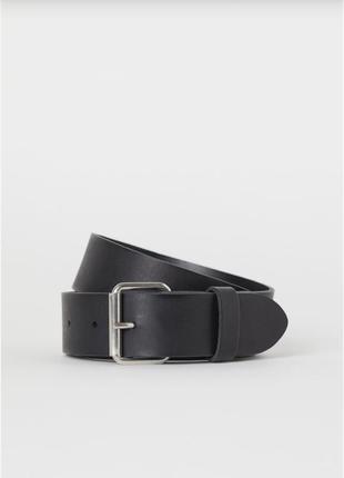 Мужской черный кожаный ремень h&m, длина 95 см