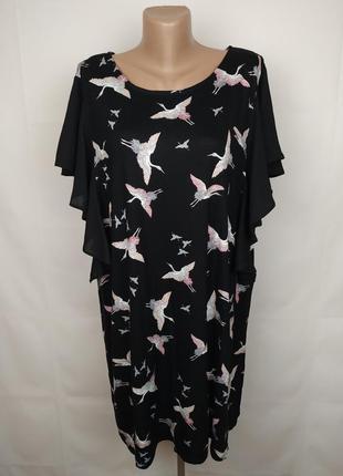 Блуза трикотажная стильная в гуси-лебеди большого размера uk 22-24/50-52/4xl-5xl