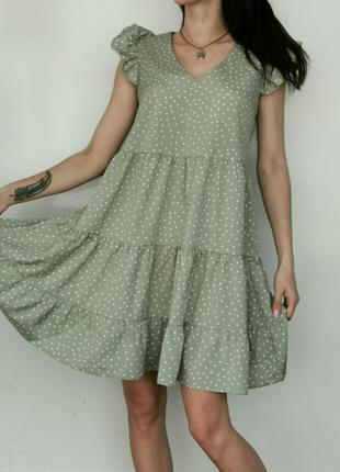 Летние платья в горошек с крылышками разные цвета 44,46,48