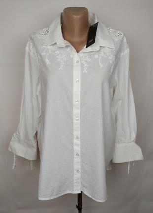 Блуза рубашка новая белая стильная кружево батистовка f&f uk 14/42/l