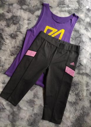 Спортивные бриджи капри adidas оригинал утягивающие неопрен