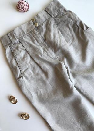 Льняные брюки на высокой посадке в стиле zara mango