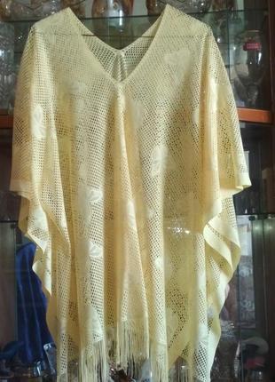 Пончо, блуза нарядное ажур. большого размера