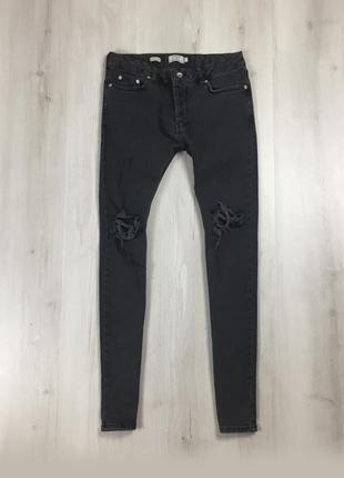 Зауженные джинсы topman штаны чёрные с рванными коленками