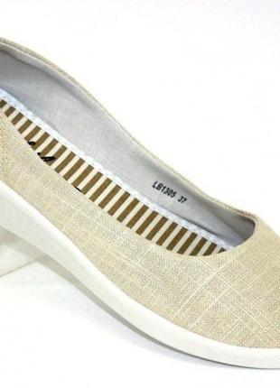 Текстильные летние туфли на танкетке