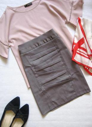 Новая серая юбка карандаш до колена