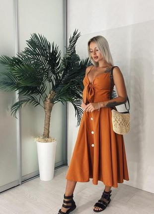 Женское платье миди с бантиком