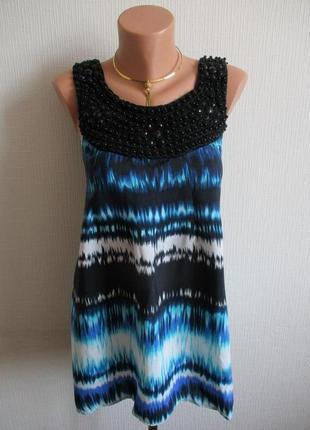 Sale-50%! натуральная вискозная блуза-туника с декором dorothy perkins