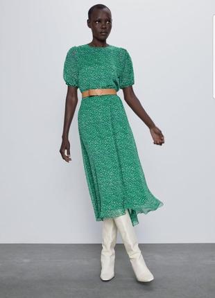 Платье миди в горошек zara