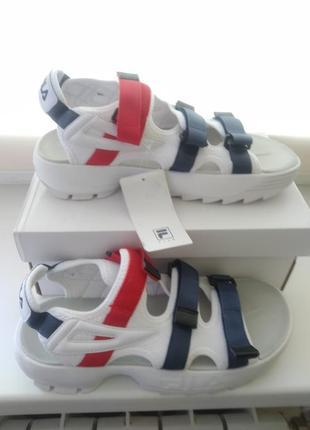 Женские сандали fila sandal white/black/red белые летние.