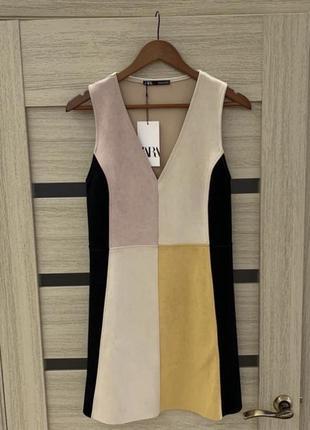 Платье zara , сарафан замшевое яркий летний короткий бежевый стильный свободного кроя