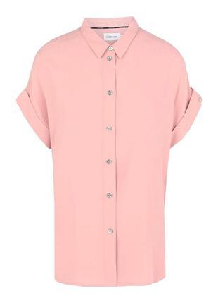Блуза из вискозы цвета пыльной розы пудровая от calvin klein с перламутром-l