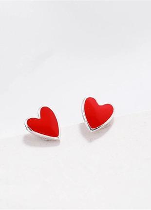 Серьги гвоздики красные сердечки лайки пирсинг сережки мини