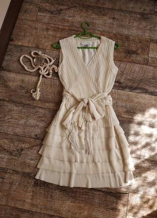 Дизайнерское платье от diane von furstenberg айвори светлое плиссе шелк и шифон