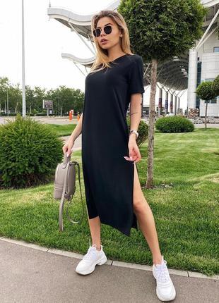 Черное длинное платье футболка