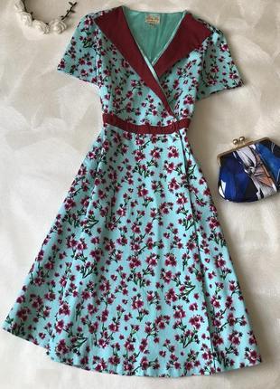 Платье миди в стиле ретро винтаж lindy bop хлопок цветы с запахом