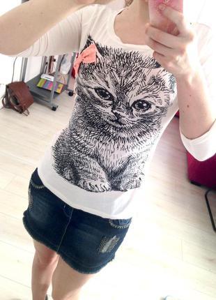 Пуловер теrranova. нежная кофта с котиком