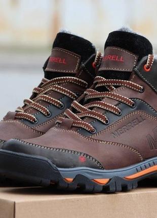 Зимние мужские кожаные ботинки наложенный платеж