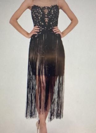 Коктейльное гипюровое платье l