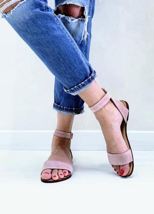 Босоножки сандалии замшевые р34-42 пудровые шлепанцы босоніжки сандалі замшеві пудрові