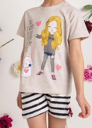 Летние хлопковые комплекты для дома и сна nicoletta для девочек. футболка и шорты. турция.