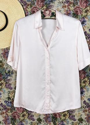 Винтажная шелковая нежно-розовая блуза шёлк винтаж modissa