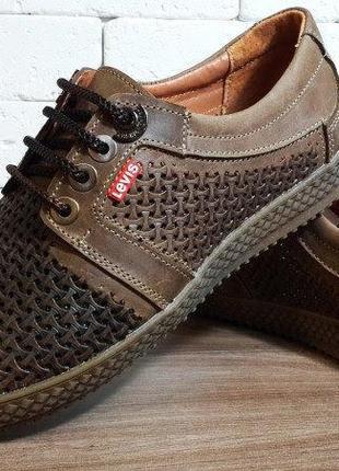 Летние мужские кожаные туфли levis