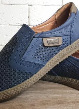Летние кожаные мужские туфли levis