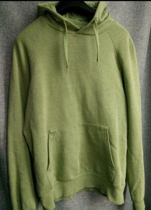 Трендовая толстовка капюшонка худи приятного оливкового зеленого (хаки) цвета