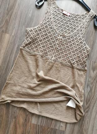 Льняная ажурная майка-блуза max mara