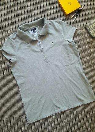 Серая футболка-поло #tommy hilfiger #оригинал