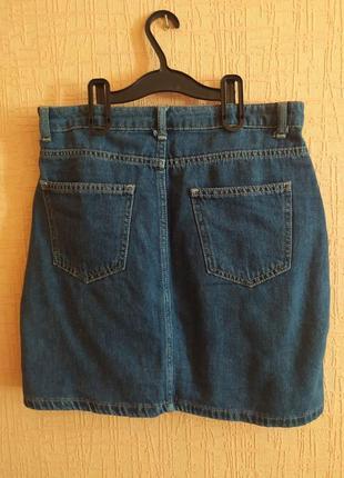 Юбка  джинсовая трапеция мини