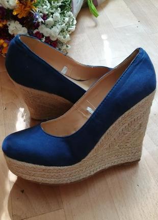Туфли босоножки синие, р 38