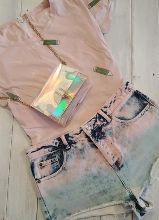 Трендовые джинсовые шорты градиент с высокой посадкой