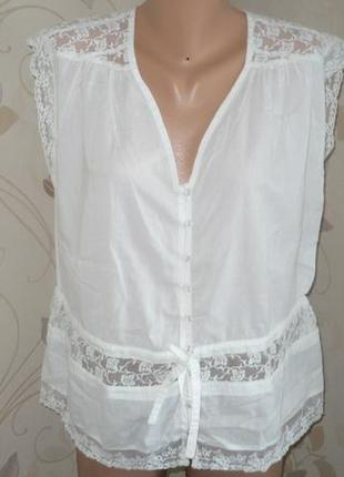 Topshop натуральная летняя майка топ футболка блузочка кружева пуговицы жіночий топ