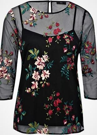 Блузка сетка с вышивкой