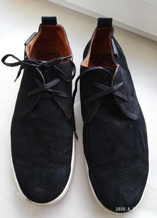 Отличные замшевые чёрные туфли/ мокасины dirk bikkembergs/ разм.45