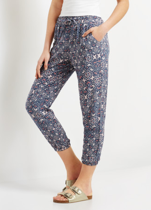 Легкие штаны из вискозы штаны джоггеры летние синие в принт