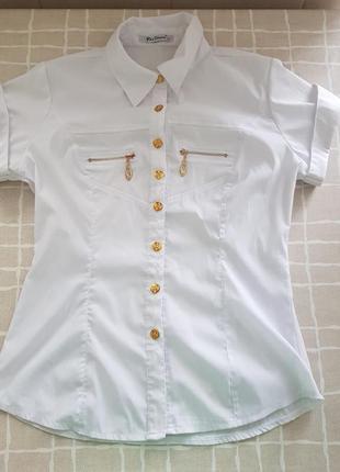 Блузка белая в школу на девочку xs