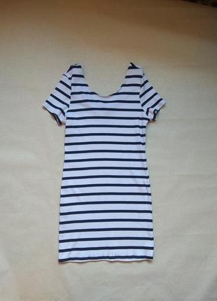 Полосатое трикотажное платье,плаття полоска,сарафан,платице морячка