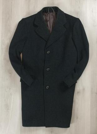 Шерстяное пальто темно-серое овечья