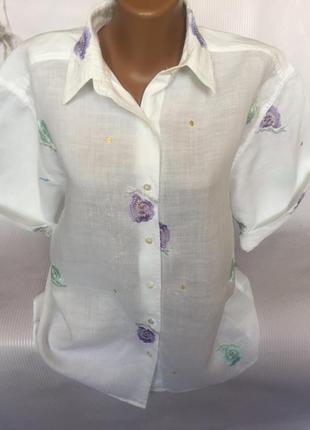 Шикарная рубашка с вышивкой , лен 100%