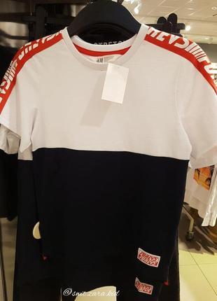 Контрастна футболка, напис на рукаві, h&m, оригінал, з європи!