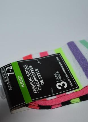 Новый набор носочки 3 пары kids fashion socks shoe size 7-2 оригинал сша