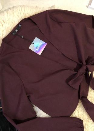 Роскошная укороченная блуза жакетик на завязках - неповторимая от missguided на р.16/44👠🍓💋
