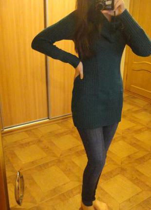 Вязанное зеленое (бирюзовое) платье (свитер, туника) 36 размера
